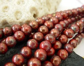 6mm Czech Round Glass Beads- Red- Bronze Picasso (50)