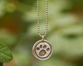 Paw Print Necklace, Wax Seal Rustic Eco Friendly Sterling Silver Pendant, Necklace, Animal Lovers Gift, Pet Memorial