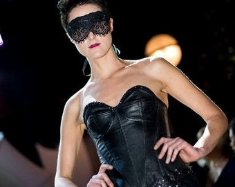 Lashful, Sheer Lace Fabric Covered Mask with Silver Spikes and Leather Trim
