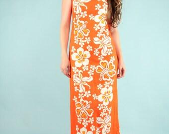 Vintage 1960s Hawaiian Dress Maxi Orange White Tropical Floral Sleeveless - Small