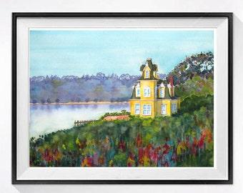 Landscape Watercolor Print Old House Art Watercolor painting San Francisco Country side watercolour landscape Aqua blue beach decor A