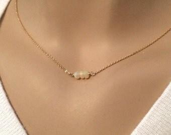 Dainty Opal necklace - October birthstone necklace - Choker necklace - Birthstone jewelry - Genuine opal necklace