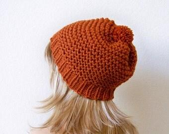 Chunky Knit Hat, Pom Pom Hat, Knit Slouchy Beanie Women, Chunky Hat, Knit Slouchy Hat Mens Slouchy Beanie Mens Hats Slouch Hat Slouch Beanie