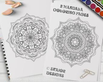 Mandala Coloring Pages Relaxation Printable Adult Detailed Henna Yoga Meditation