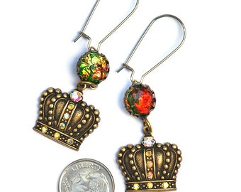 Brass Crown and Crystal Dangle Earrings on Stainless Steel Wires