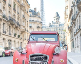 Paris Photograph - Red Citroen and the Eiffel Tower, French Car, French Home Decor, Fine Art Photograph, Large Wall Art