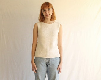 simple white woven cotton sweater sleeveless 80s made in usa
