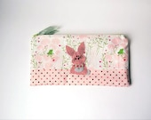 """Zipper Pouch, 5x9.25"""" in Pink, Cream, Green and Gray Lily Pads and Frogs with Handmade Felt Rabbit Embellishment, Bunny Pencil Case"""