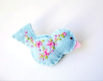 """Handmade Felt Bird Brooch or Pin In Light Blue with Pink and Green Embroidered and Beaded Embellishments  - shawl or scarf pin 2.75x1.5"""""""