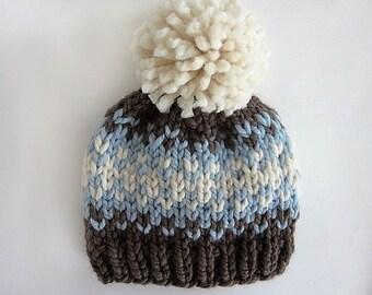 Hat Knitting Pattern // Fair Isle Hat Pattern // Chunky Pom Pom Hat // Knitting Patterns for Kids