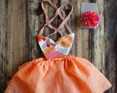 Dainty Cheeks custom unicorn/deer dress - peach/ pink floral dress with pom pom