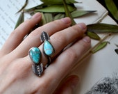 Twisted Dual Vane Turquoise Statement Ring