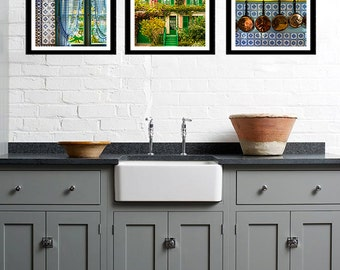 SALE Giverny Photography Set Monets Garden Kitchen Art Monet House Blue Pink Photos Paris French Wall Decor fra24
