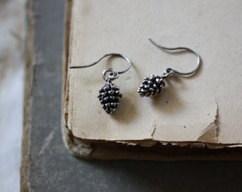Pinecone Earrings - Tiny Silver Pinecones  - Winter Fashion - Fall Fashion