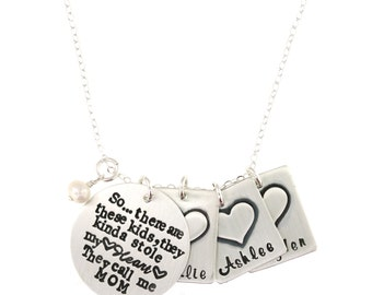 So.. There are these KIDS, they kinda stole my heart.. They call me MOM (or Nana, etc) Sterling Silver Necklace