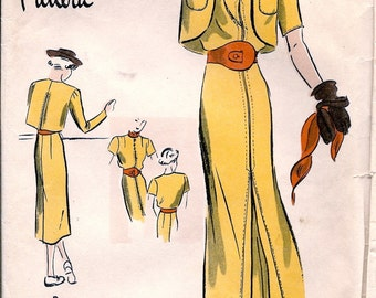 1930s Vintage Vogue Special Pattern S-3900  ** RARE ** One Piece Dress and Bolero  //  Size 14 * Bust 32