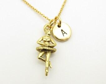 Ballerina Necklace, Ballet Dancer Necklace, Antique Gold Ballet Necklace, Pirouette, Music Box Dancer, Personalized, Monogram Initial Z353