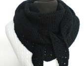 Scarf Unisex Black Triangle Kerchief Hand Knit