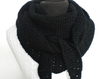 Scarf Unisex Black Triangle Kerchief Hand Knit