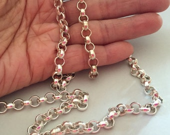 Shiny Solid Sterling Silver 925 - 6mm Heavy Rolo Chain for jewelry making - by the foot - Precious metals chain - (ch319)