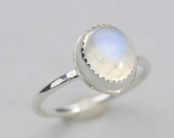 Sterling Silver Rainbow Moonstone Stacking Ring, custom handmade to order oval moonstone stackable ring