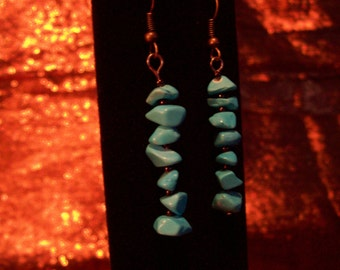 Turquoise Nugget Drop Earrings