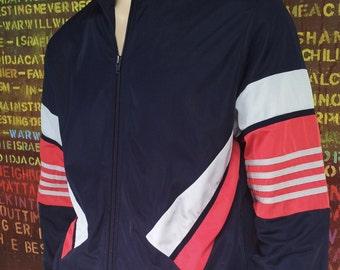 Vintage Mens Clothing. Adidas Tracksuit Jacket. Original Adidas Clothing. Vintage Mens. Early 1990's Vintage. Zip Up Jacket. Blue. Red. Grey