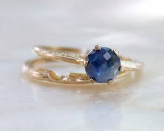 Modern Rose Cut Blue Montana Sapphire and 14k Yellow Gold Vintage Inspired Embossed Wedding Set - Conflict Free and Ethical - Recycled Gold