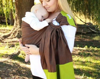 Baby Carrier Linen Banded Ring Sling Baby Sling- Brown & Green - Instructional DVD Included - FAST SHIPPING