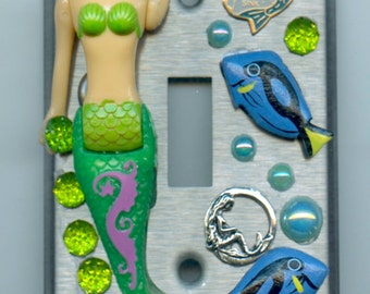 Mermaid Theme Light Switch Cover With Embellishments