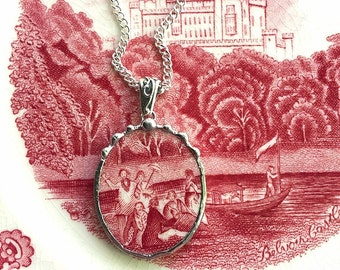 Broken china jewelry, Recycled china pendant necklace Antique English scenic figural transferware broken china jewelry