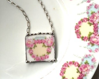 Broken china jewelry antique pink ring of roses wreath porcelain necklace made from a broken plate