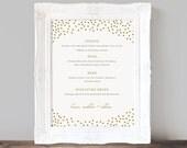 Printable Wedding Bar Menu Template, Gold Dots, Wedding Bar Sign, Signature Drinks, Cocktails, Custom Printable Bar Menu - INSTANT DOWNLOAD