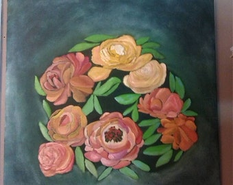 Original Oil Painting 24x24 Cluster of Blossoms