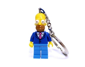 Homer Simpson Keychain - made from The Simpsons LEGO® Minifigure, Sunday Best Homer Simpson