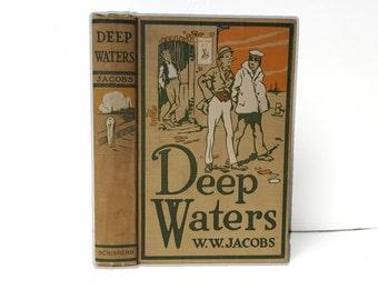 Hollow Book Safe Deep Waters WW Jacobs Cloth Bound vintage Secret Compartment Keepsake Hidden Security Box