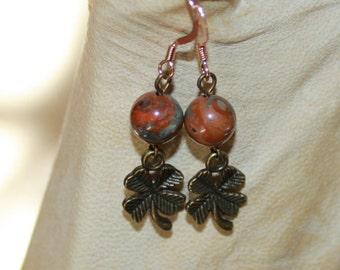 Four Leaf Clover Earrings-Antiqued Bronze-Short Drop Dangle Earring-Brown-Red Creek Jasper Gemstone-Lucky Leprechaun-St. Pattys Day