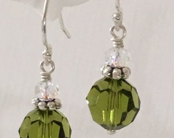 Earrings-Olivine Green and Sterling Silver-Round Ball Beaded-Swarovski Crystals-Dark Olive Green-Short Drop Dangle-One Inch Drop Dangle-Her