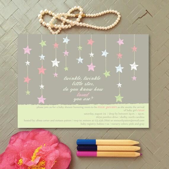 Twinkle Twinkle Little Star Baby Shower Invitation By