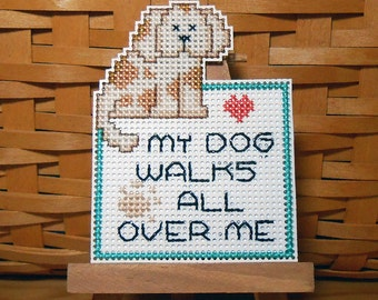 My Dog Handstitched Magnet - Handmade Cross Stitch Magnet - Free U.S. Shipping