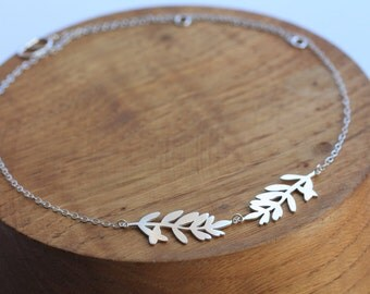 Silver Leaf Necklace - Inspired by Lavender leaves - Silver Necklace