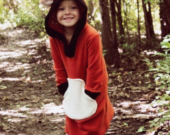 Fox Fleece Dress - Made to Order, Size  12/18m, 2T, 3T, 4T, 5T, 6, 7. 8