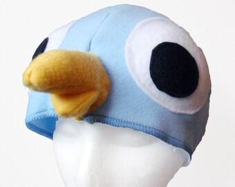 Big-Eyed Pigeon Hat. Light Blue Bird.
