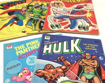 Vintage 70's and 80's Superhero Coloring Books, Set of 5 - Amazing Spider-man, Incredible Hulk, Superman - Kids Coloring Books