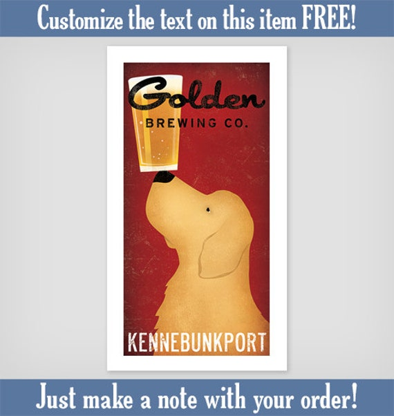 Customize Personalize GOLDEN RETRIEVER Brewing Company Craft Beer graphic art  print Signed