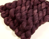 Mini Skeins - Hand Dyed Yarn - Sock Weight 4 Ply Superwash Merino Wool Yarn - Damson Plum - Knitting Yarn, Sock Yarn, Wool Yarn, Purple