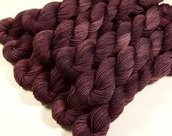 Mini Skeins - Hand Dyed Yarn - Sock Weight 4-Ply Superwash Merino Wool Yarn - Damson Plum - Knitting Yarn, Sock Yarn, Wool Yarn, Purple
