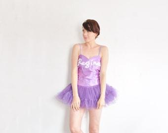 purple ballerina tutu costume . tulle ballet skirt leotard dress .small