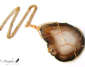 SALE // Agate Gold Necklace // Tan Brown Geode Slice Wire Wrapped Necklace // Break On Through