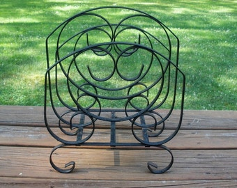 Vintage Black Wrought Iron Magazine Rack